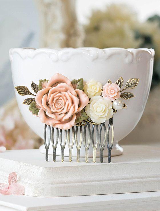 Blush Pink Wedding Bridal Hair Comb Blush Pink Ivory Rose Flower Brass Leaf Branch Pearl Collage Filigree Hair Comb Bridesmaid Gift