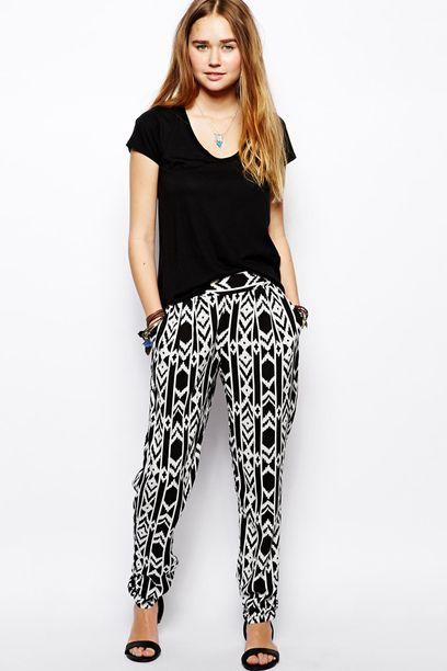 Primavera 2015. Pantalones estampados en blanco y negro