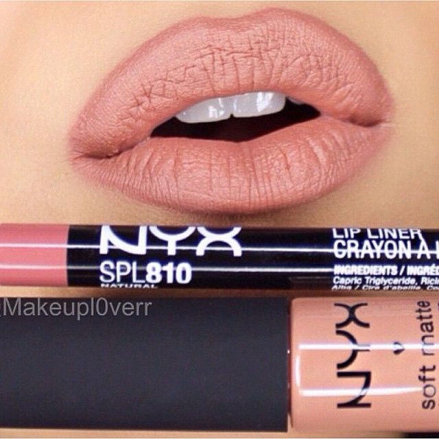 "NYX lip pencil in ""Natural"" & NYX soft matte lip cream in ""London"""