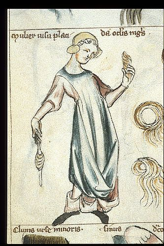 Detail of a standing woman. BL Sloane 3983, f. 25v.   Treatise on Astrology by Albumazar. Southern Netherlands, 2nd or 3rd quarter of the 14th century.