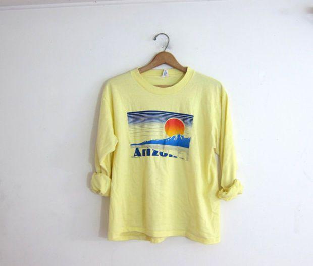 Vintage yellow Arizona tee shirt / long sleeve tshirt with sunset over mountains