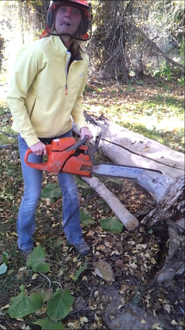 Teryn with the chainsaw!! O.o