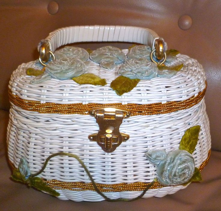 1950s white wicker basket purse with blue velvet roses.