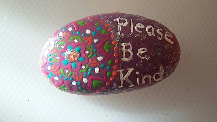 Please be kind mandala rock. Art by Jessica Holmstrom Clark