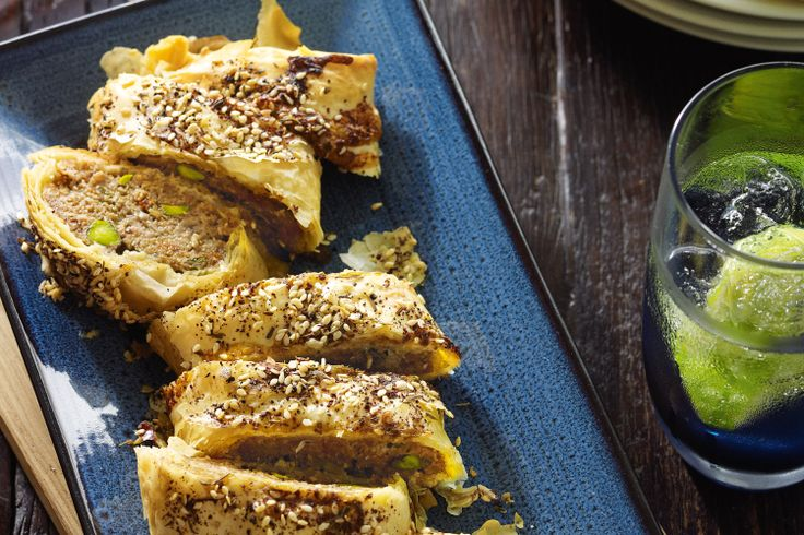 These are far more interesting than your average sausage rolls, but just as easy to make! A mixture of lamb, pistachios and Middle Eastern flavours wrapped in filo result in a very 'more-ish' sausage roll!
