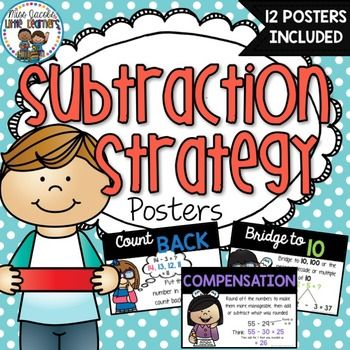 Subtraction Strategy Posters:Teaching subtraction strategies to your students is essential for building up their mental computation and problem solving skills. These subtraction posters will provide a clear, bright and engaging visual reminder for you to display in your classroom as you teach each subtraction strategy.