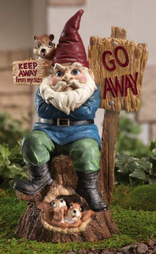 """Keep Away From My Nuts! Garden Gnome Figurine By Collections Etc by Collections. $12.99. Measures 6 7/8""""L x 5 1/2""""W x 10 3/4""""H. Hand-painted resin. Occupy the back yard protest gnome. This one-gnome Occupy the Backyard protest is joined by his squirrelly pals. Hand-painted resin. 6 7/8""""L x 5 1/2""""W x 10 3/4""""H."""