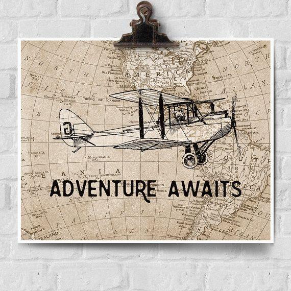 Adventure Awaits Print, Vintage Airplane Decor, Adventure Awaits Map Wall Decor…