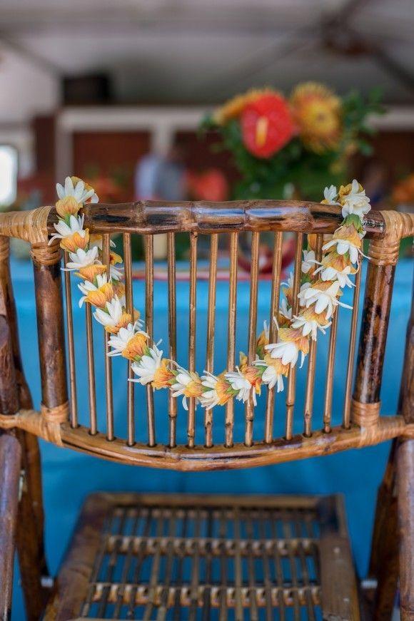 Floral Garland wedding chair decor.