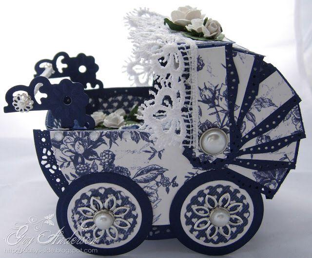 Blå og hvit barnevognkort