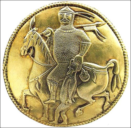 Treasure of Nagyszentmiklos, depiction of a mounted warrior with captive on a  gold ewer (pitcher). The horseman represents a warrior of 1 of the steppe khanates of the 7-10th c. (Avars/Khazars, Bulgars or Magyars)