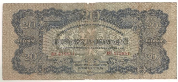 Hungari 20 Husz Pengo Banknote 1944 Red Army Occupation Circulated.