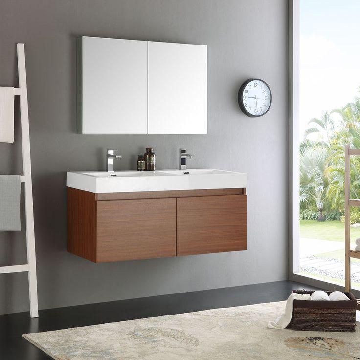 Fresca Mezzo Teak MDF//Glass 48-inch Double Sink Bathroom Vanity w/ Medicine Cabinet