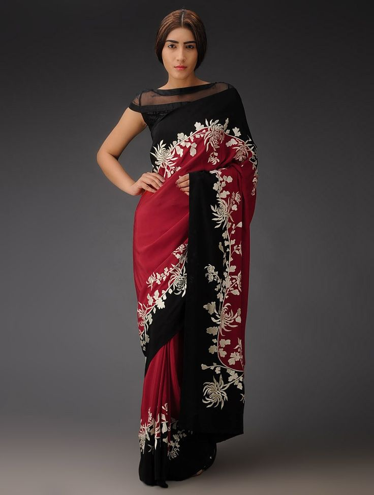 Buy Red Black Chrysanthemum Vine Crepe Silk Parsi Gara Saree Navroz Jubilation Embroidered Sarees Blouses Apparel & Clutches Online at Jaypore.com