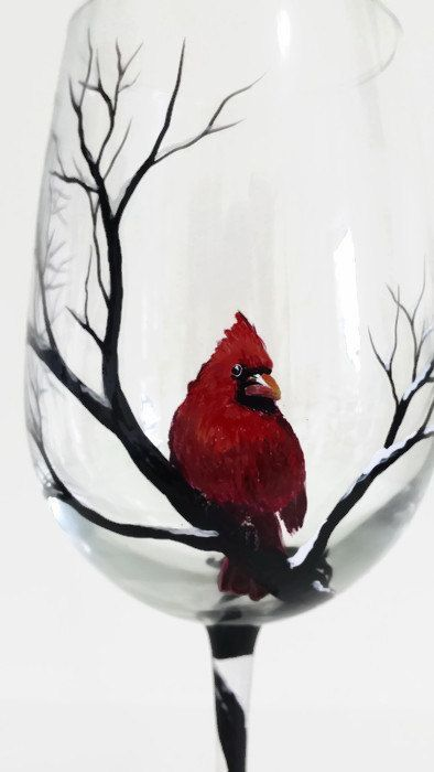 Cardinal Snowy Tree Branches Hand Painted Wine Glass Winter Scene Holiday Christmas Stemware Unique Artistic Nature Lover Gift Red Bird Art