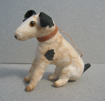 Spun cotton ornament, sitting dog
