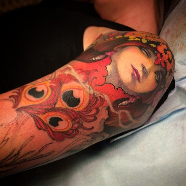One more view of @daja_hartman 's sorceress sleeve in progress, second session. @offthemaptattoo @fusion_ink