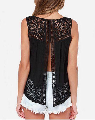 2015 mujeres del verano gasa Sexy espalda abierta camisas sin mangas del tanque Tops negro Femininas Crochet chaleco del cordón blusa camisa en Blusas y Camisas de Moda y Complementos Mujer en AliExpress.com   Alibaba Group