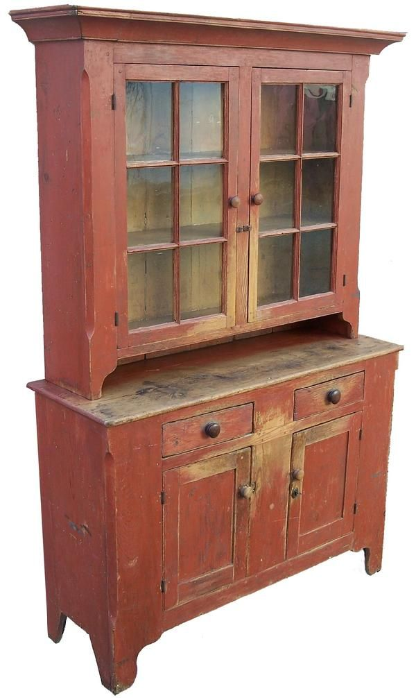 Early 19th Century Shendahora Valley Viginia Two Piece Stepback Cupboard  With The Original Dry Red Paint