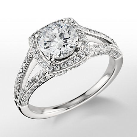 MONIQUE LHUILLIER Split Shank Halo Diamond Engagement Ring, exclusively at BLUE NILE
