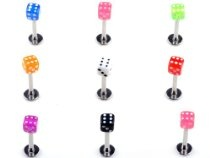 30pcs 18g 3mm dice labret monroe tragus lip tongue rings wholesale body jewelry piercing