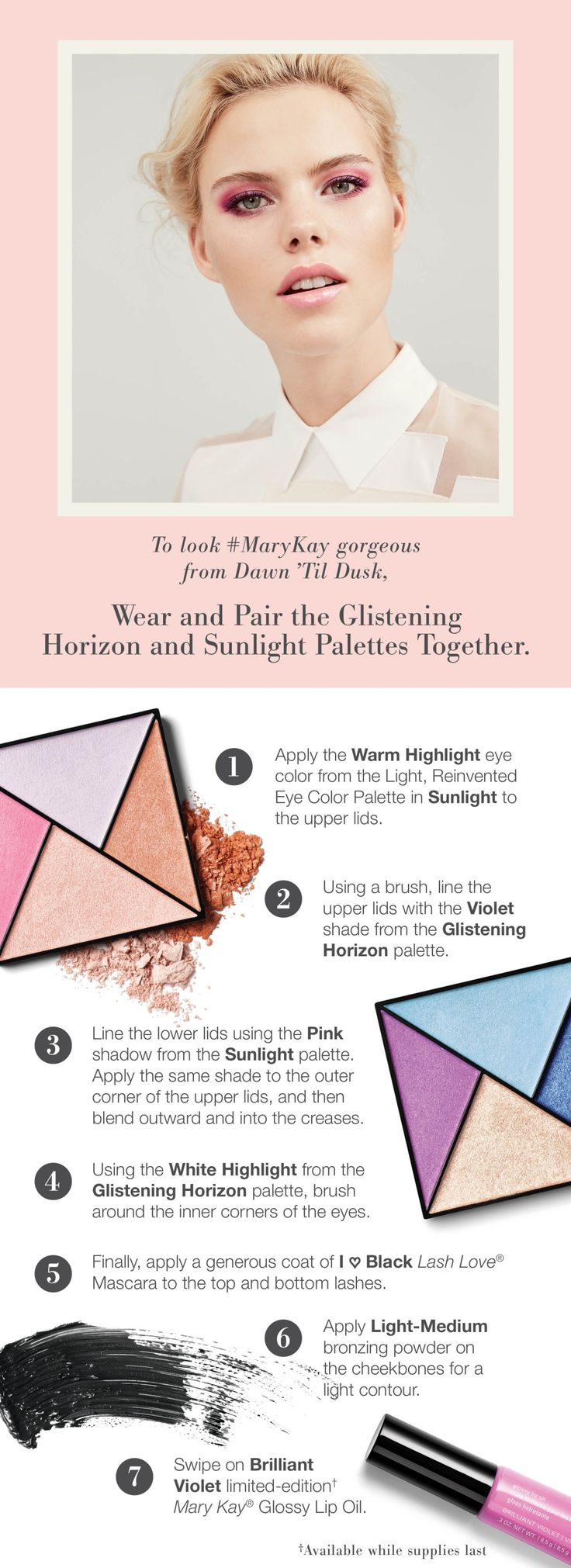 Need some ideas on how to wear our newest eye shadow shades? Try this simple eye makeup tutorial using both of the new Limited-Edition† Mary Kay® Eye Color Palettes!