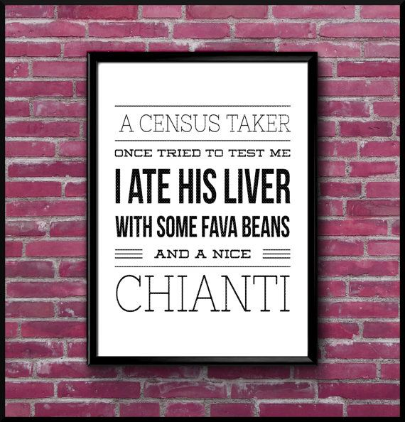Hannibal Lecter Quote - Printable Art Downloadable Poster A3 A4 A5 - INSTANT DOWNLOAD - Funny Comedy Joke Movie Film TV Fathers Xmas Gift