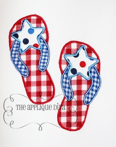 4th of July Flip flops Embroidery Design Applique.
