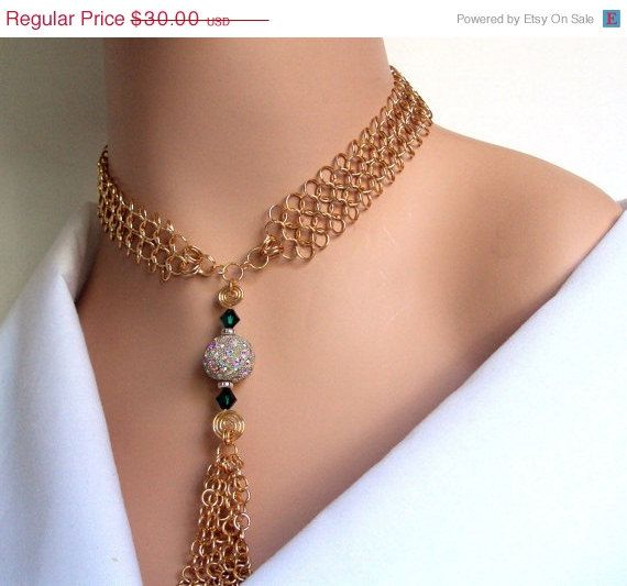 ON SALE 30 OFF Gold chainmaille necklace with a by NezDesigns, $21.00