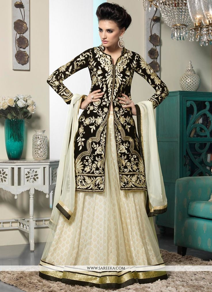 Off White And Black Embroidery Work Net Anarkali Salwar Suit