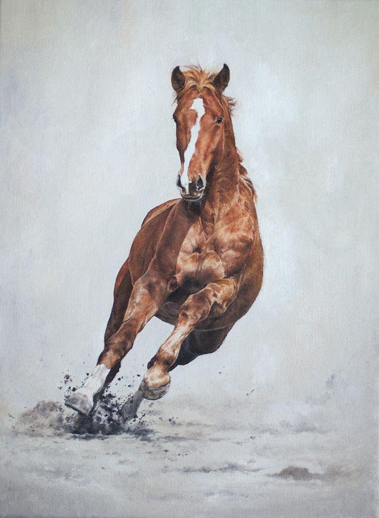 Obraz inspirowany własną fotografią, przedstawiający konia w pełnym galopie. Wymiar: A4, wykonanie: farby olejne.