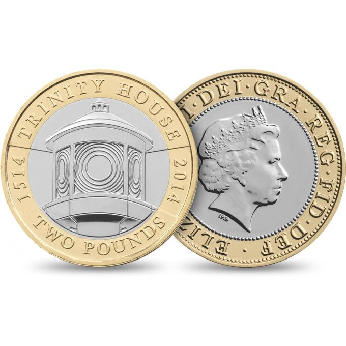 The 500th Anniversary of Trinity House 2014 UK £2 Brilliant Uncirculated Coin - £10.00 http://www.royalmint.com/shop/The_500th_Anniversary_of_Trinity_House_2014_UK_2_pound_Brilliant_Uncirculated_Coin