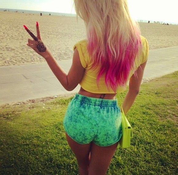 shorts pink green yellow dip dye blue shirt dip dye shorts