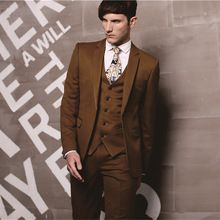 Tailor made 2015 nieuw bruidegom suits koffie bruin smoking beste man bruidegom mannen party bruiloft jas + broek + tie + vest(China (Mainland))