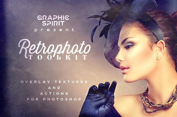 RETROPHOTO Toolkit Actions&Overlays by Graphic Spirit on @creativemarket