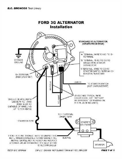 ford 3 wire alternator diagram