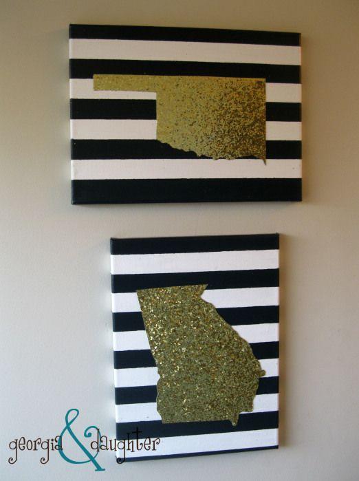 georgia & daughter: DIY State Map Glitter Canvas