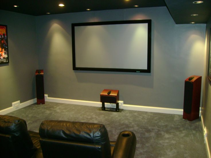 Home Theater Room With Projector Fixed Screen And Floor