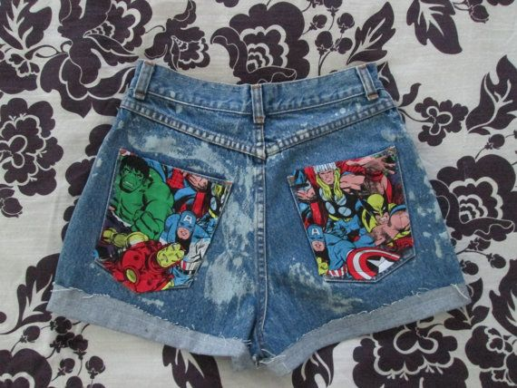 The Avengers Marvel Comic High Waisted Acid Wash Denim Jean Shorts   by CANDYPANTSclothing, $40.00