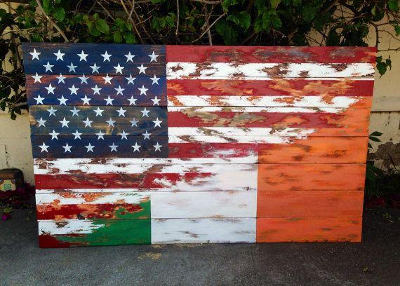 Rustic Irish American wooden flag on Etsy, $399.00