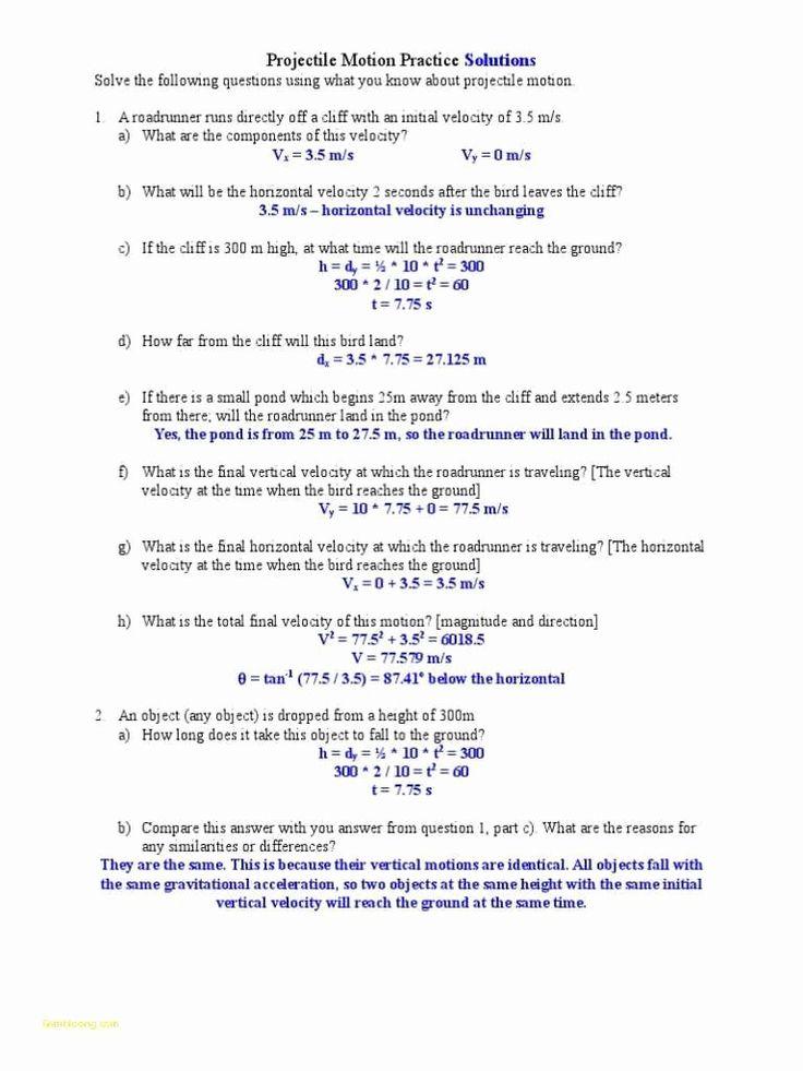 Motion Graphs Worksheet Answer Key Elegant Projectile