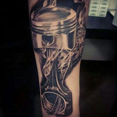 Piston tattoo. By Pete Terranova.