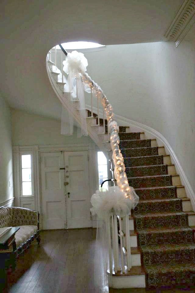 Stair well decorated for our wedding thanks to my bridesmaids!