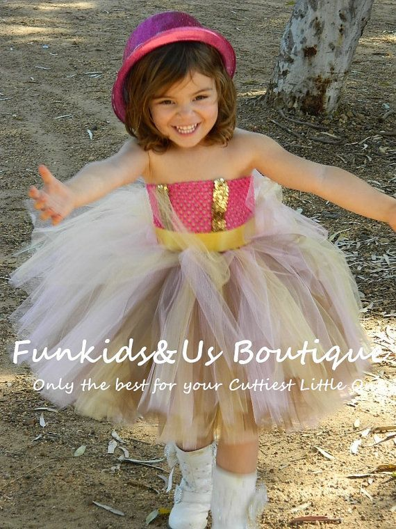 Pink gold  and Brown Gorgeous Cowgirl Tutu by FunkidsandUsBoutique