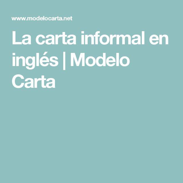 La carta informal en inglés | Modelo Carta