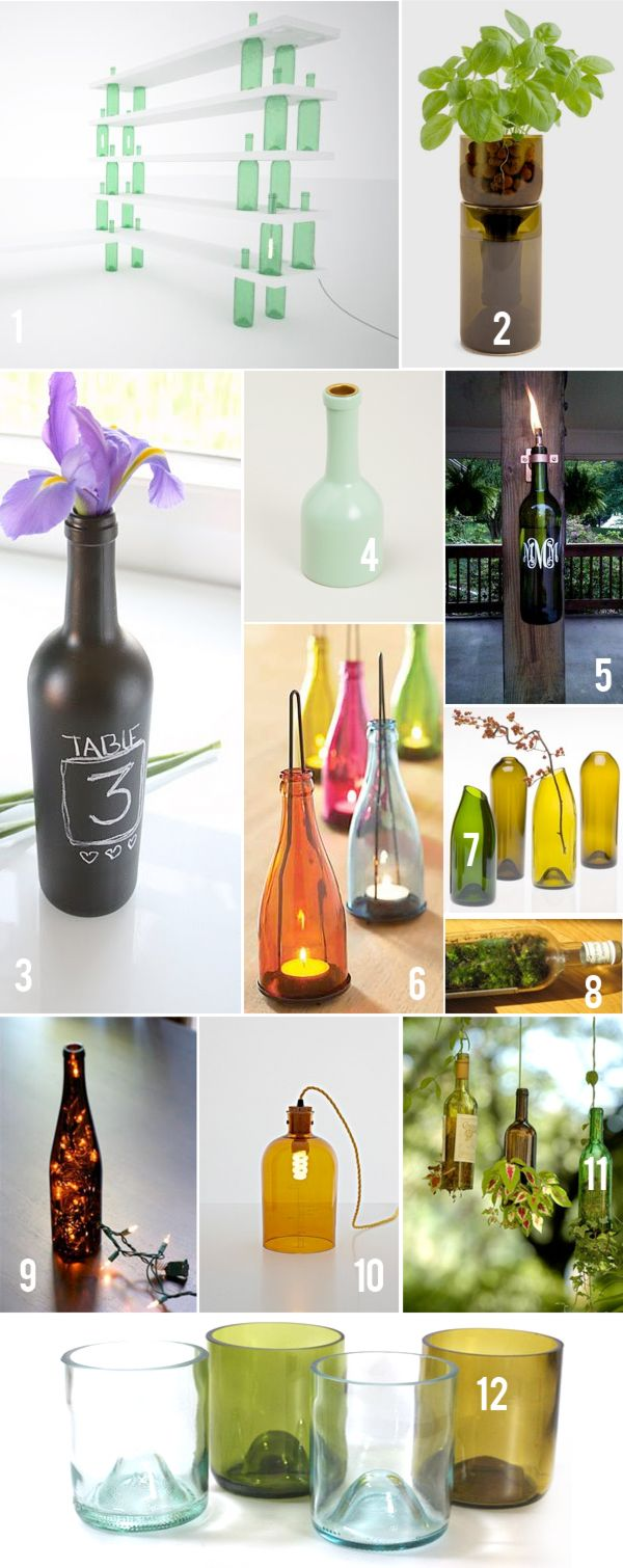 Recycled wine bottle glasses - Wine Bottle Diys