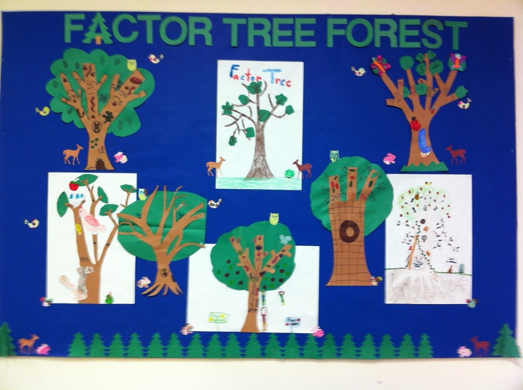 Classroom Decoration Forest ~ Factor tree forest math bulletin board education