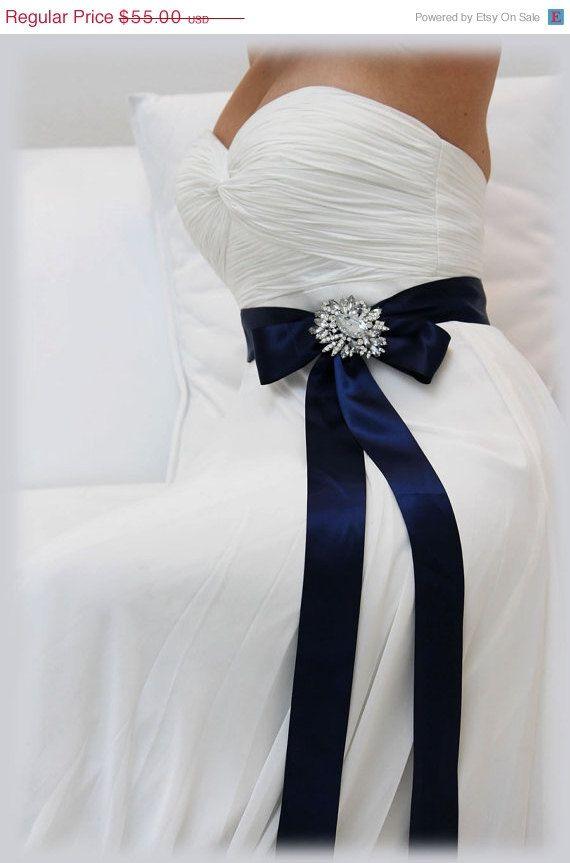 Navy Blue Bridal Sash Crystal Sash Ribbon Sash By Bijouxandcouture