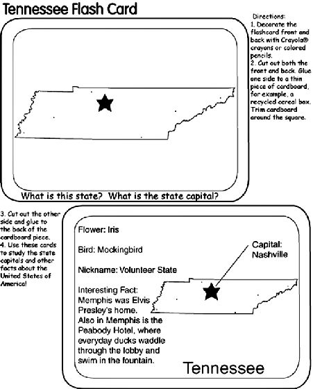 US State Flash Cards - Tennessee coloring page Nifty Fifty (States