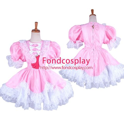 Free Shipping Pink Lockable Organza Satin Sissy maid Dress Uniform Cosplay Costume Tailor-made